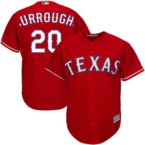 Men's Majestic Texas Rangers Jeff Burroughs Authentic Red Cool Base Alternate Jersey