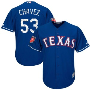 Youth Majestic Texas Rangers Jesse Chavez Authentic Royal Cool Base 2018 Spring Training Jersey
