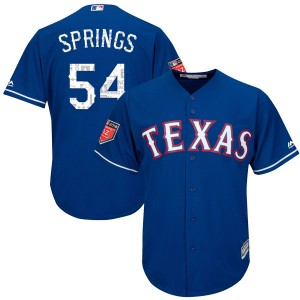 Youth Majestic Texas Rangers Jeffrey Springs Replica Royal Cool Base 2018 Spring Training Jersey